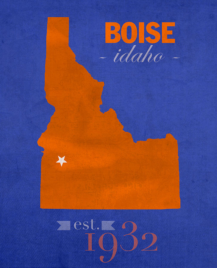 Boise State Mixed Media - Boise State University Broncos Boise Idaho College Town State Map Poster Series No 019 by Design Turnpike