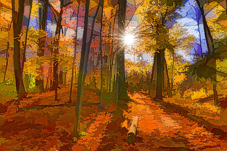 Bold and Colorful Autumn Forest Impression by Georgia Mizuleva