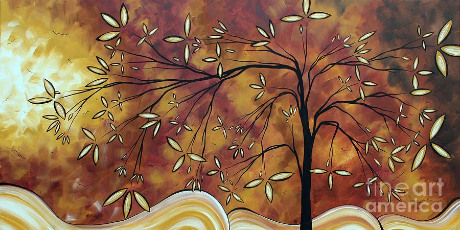 Abstract Painting - Bold Neutral Tones Abstract Landscape Art Oversized Original Painting The Wishing Tree By Madart by Megan Duncanson