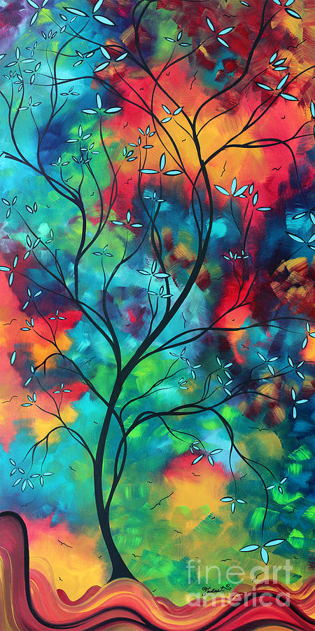 Abstract Painting - Bold Rich Colorful Landscape Painting Original Art Colored Inspiration By Madart by Megan Duncanson