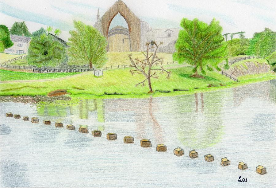 Landscape Drawing - Bolton Abbey by Bav Patel