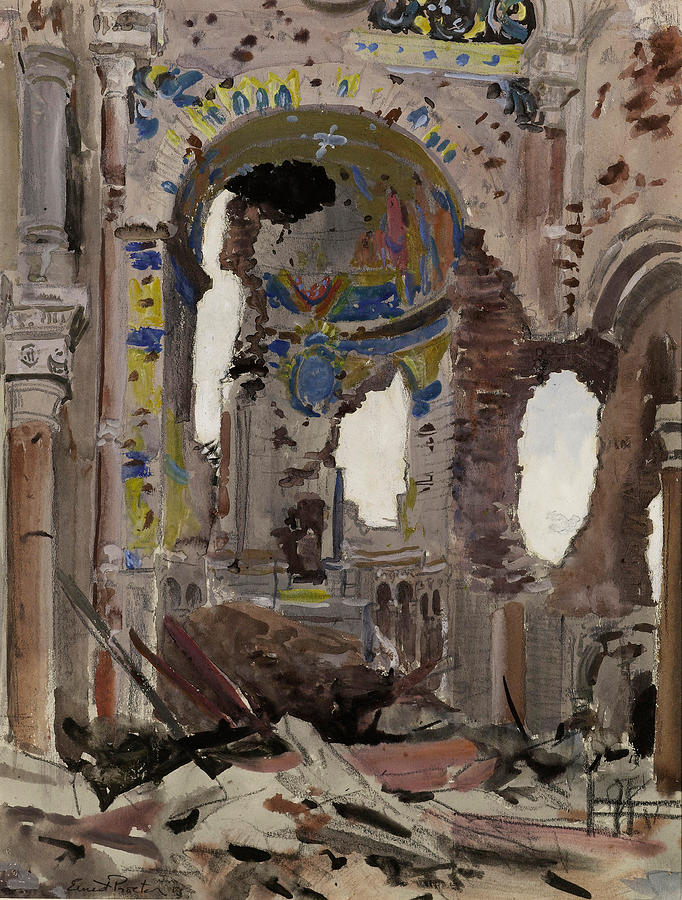 Albert Church Painting - Bombed Out Interior Of Albert Church by Ernest Proctor