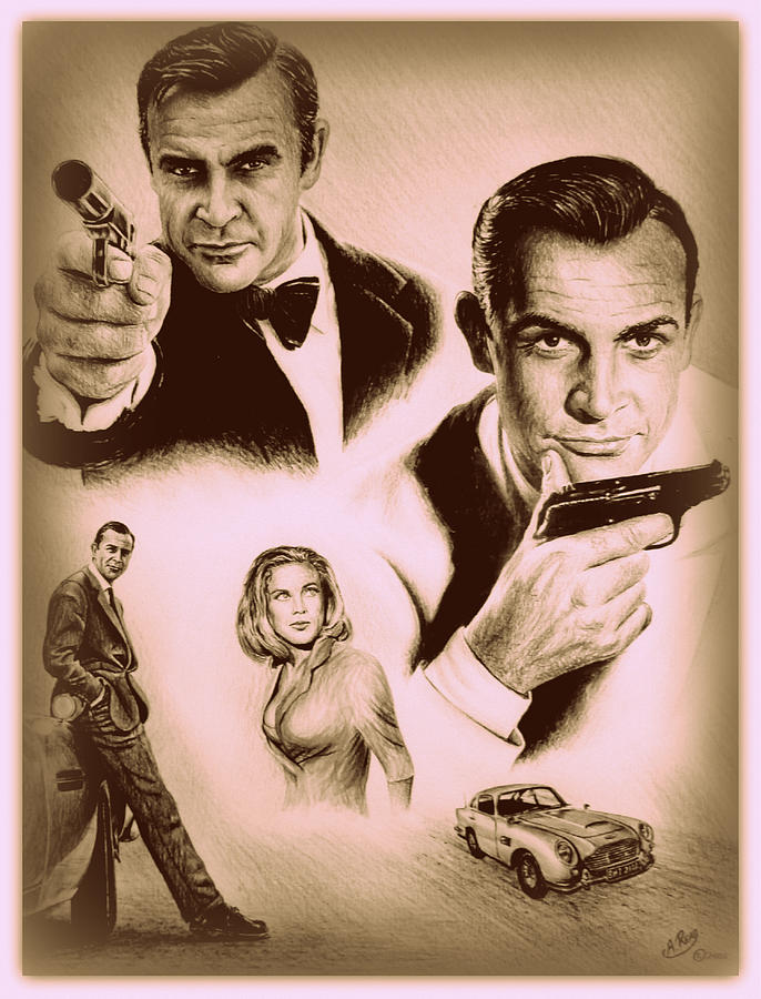 James Bond Drawing - Bond The Golden Years by Andrew Read