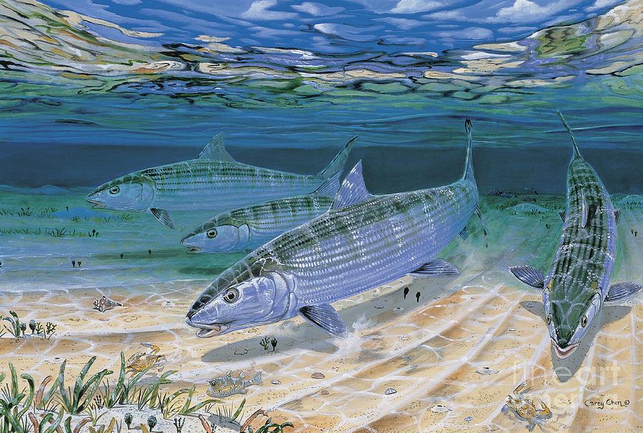 Bonefish Painting - Bonefish Flats In002 by Carey Chen