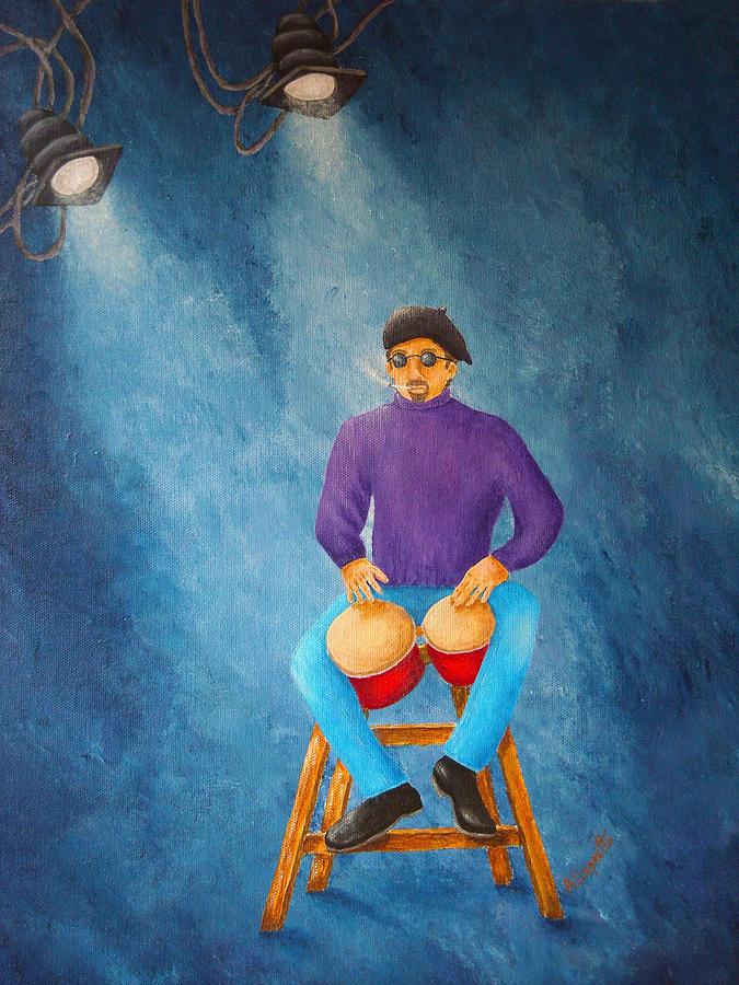 Music Painting - Bongo Man by Pamela Allegretto