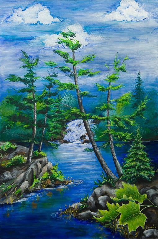 Nature Painting - Bonnechere Falls by Jill Alexander