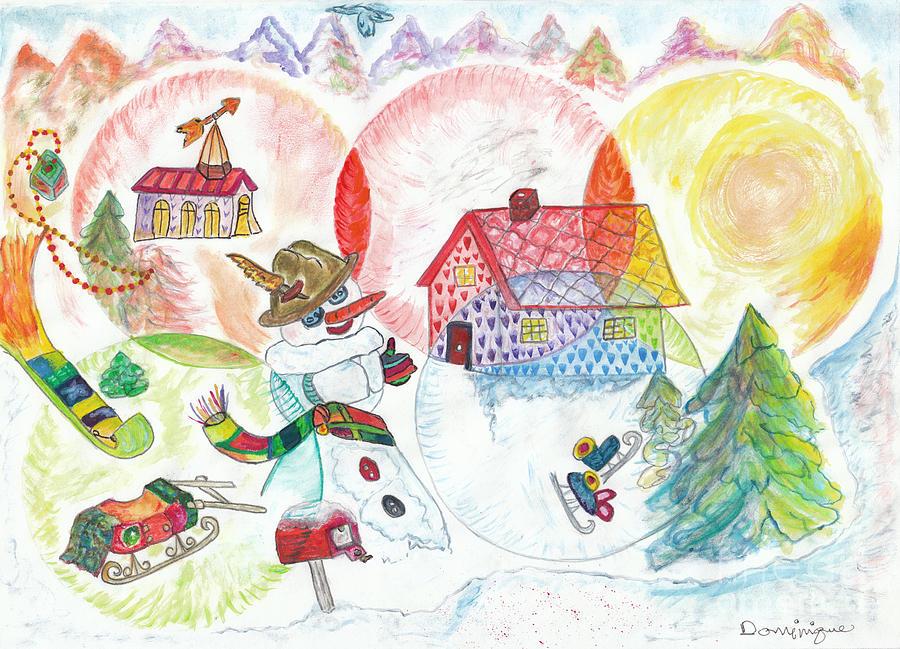 Snowballs Painting - Bonnefemme De Neige / Snow Woman by Dominique Fortier