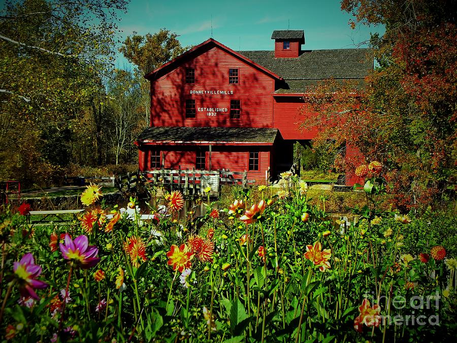 Mill Photograph - Bonneyville Grist Mill From Dahlia Garden by Rory Cubel