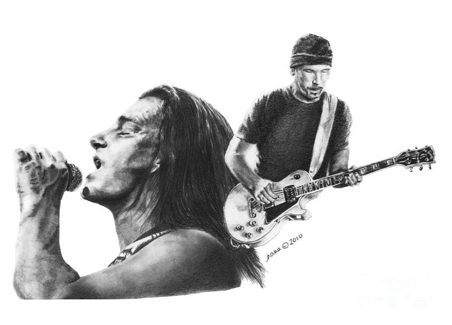 Bono Drawing - Bono And The Edge by Marianne NANA Betts
