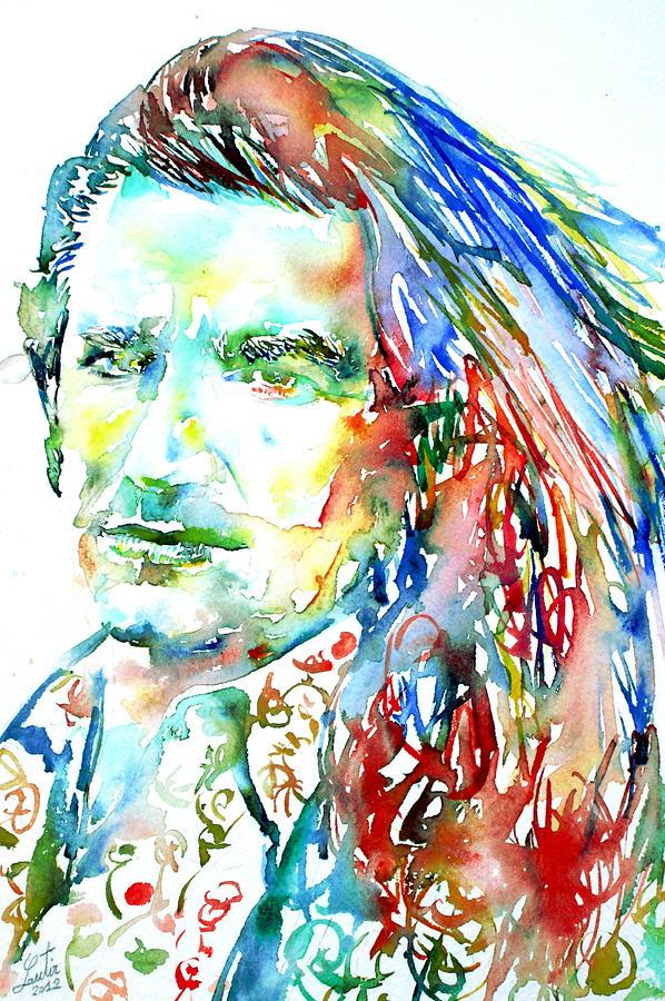 Bono Painting - Bono Watercolor Portrait.2 by Fabrizio Cassetta