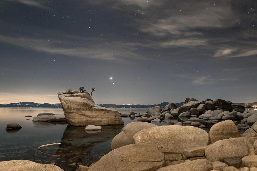 Mars Photograph - Bonsai Rock With Venus And Mars by Tony Fuentes