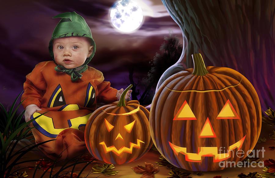 Baby Digital Art - Boo Baby Pumpkins by Peter Awax