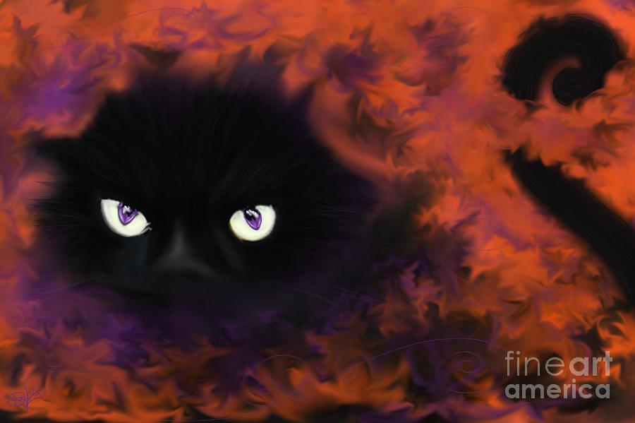Black Cat Painting - Boo by Roxy Riou