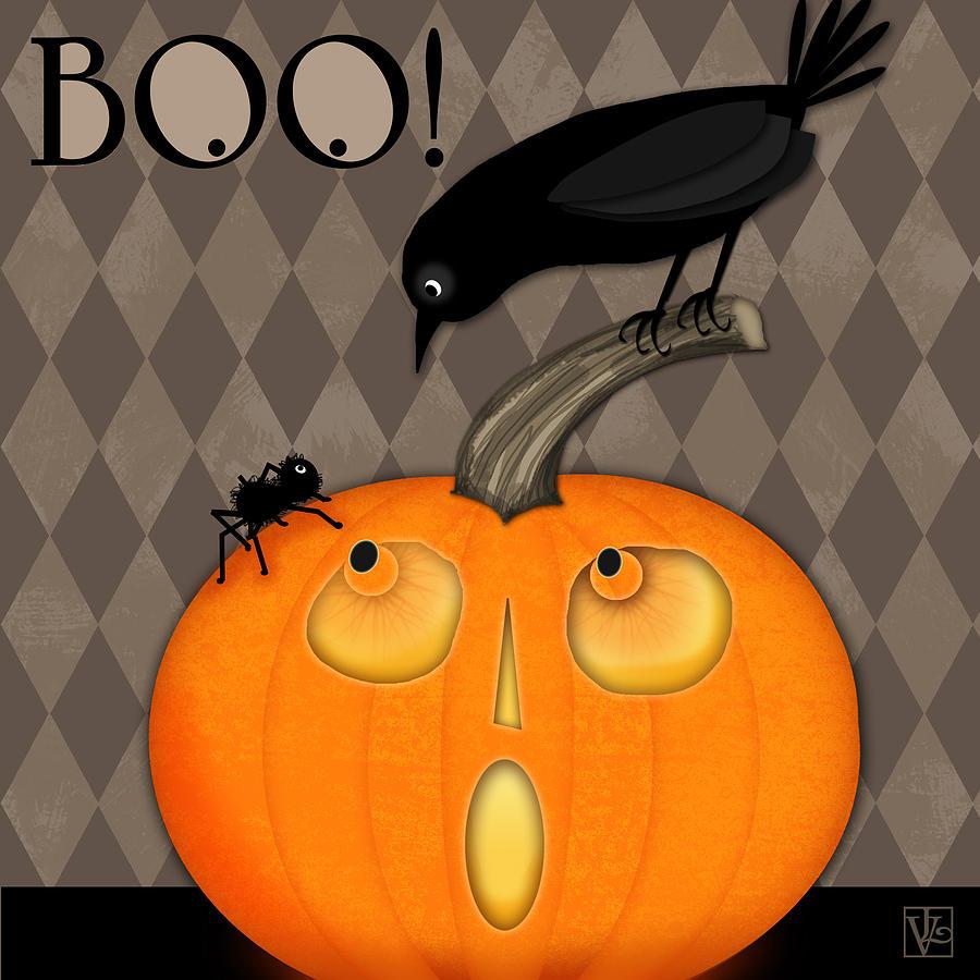 Halloween Digital Art - BOO by Valerie Drake Lesiak