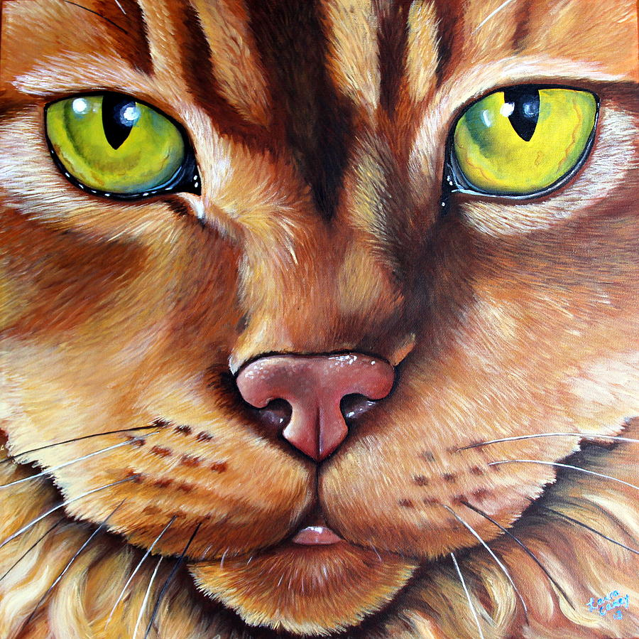 Cat Painting - Booboo by Laura Carey
