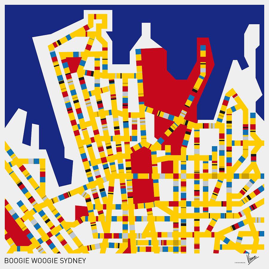 Minimal Digital Art - Boogie Woogie Sydney by Chungkong Art