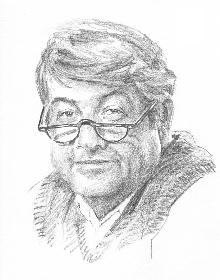 Book Character 14 Pencil Portrait Drawing by Mike Theuer