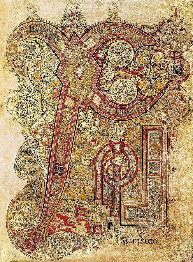 Vertical Photograph - Book Of Kells. 8th-9th C. Chapter by Everett