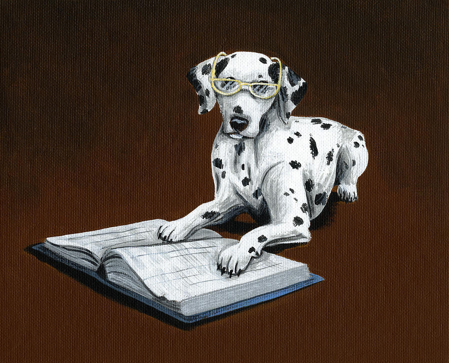 Dalmatian Painting - Book worm...Dog Art Painting by Amy Giacomelli