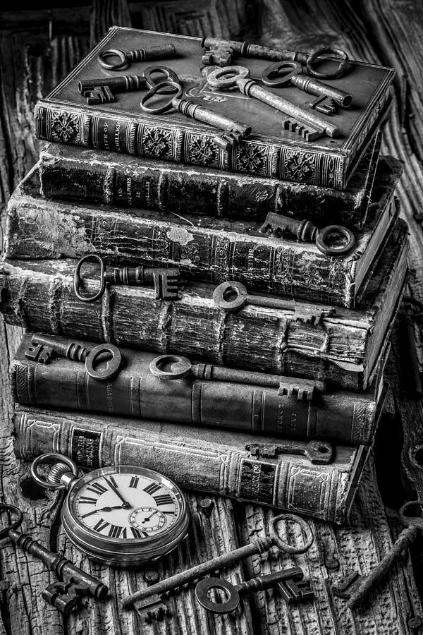 Key photograph books and keys black and white by garry gay
