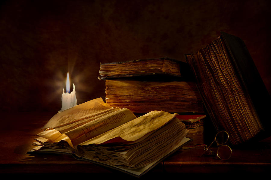 Books By Candle Light is a photograph by Mary Tomaino which was ...