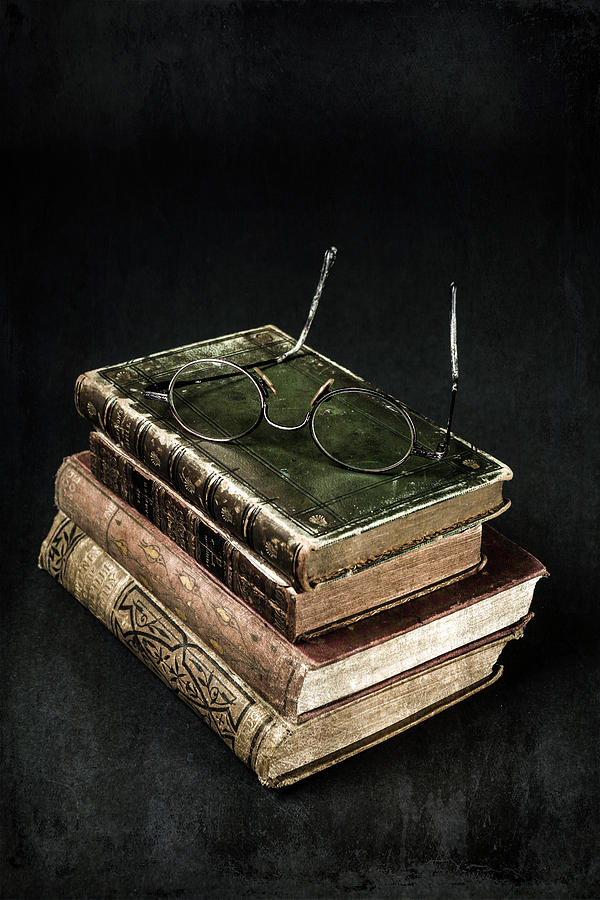 Book Photograph - Books With Glasses by Joana Kruse