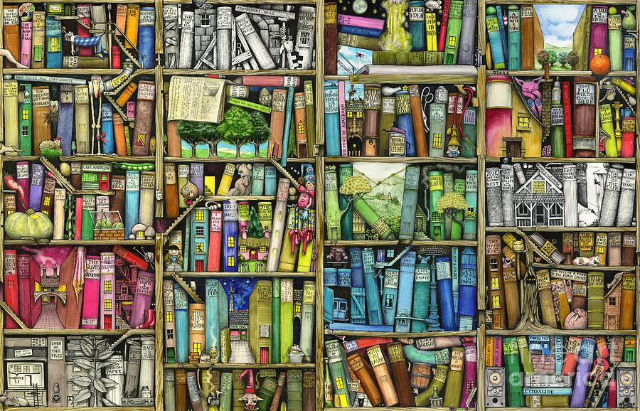 Colin Thompson Digital Art - Bookshelf by MGL Meiklejohn Graphics Licensing