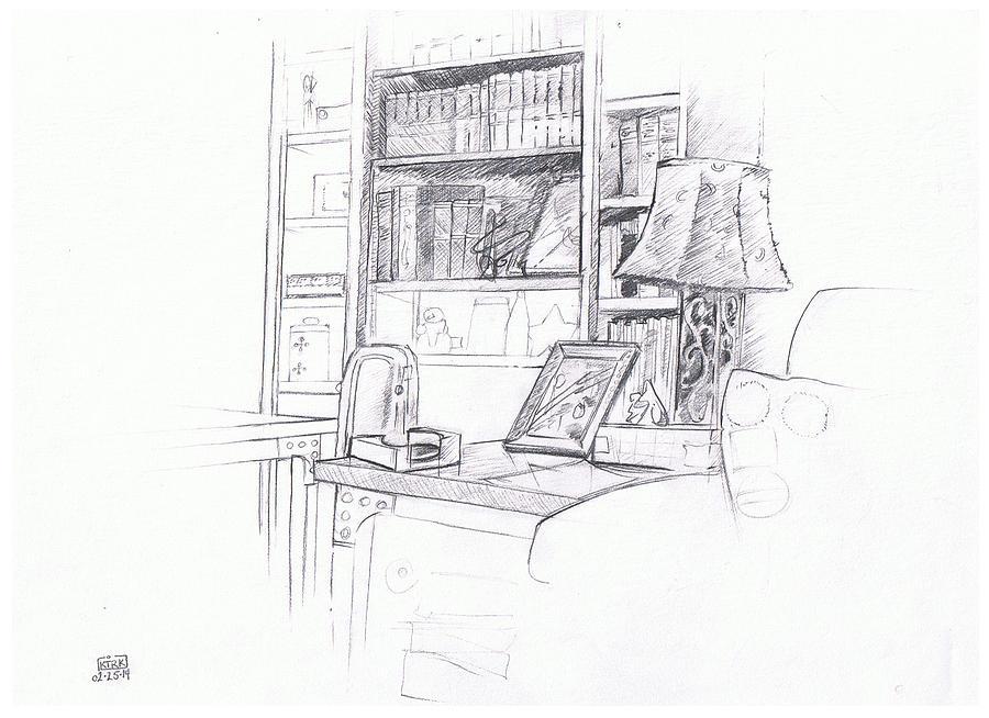 Bookshelf Drawing By Matt Kirk