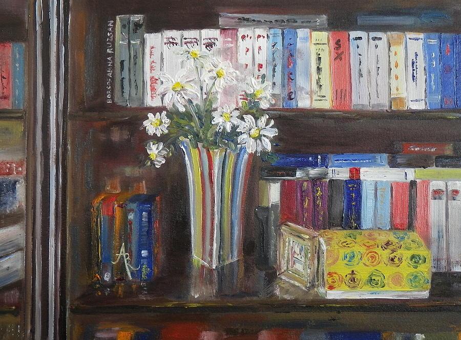 Bookworm Bookshelf Still Life Painting By Anna Ruzsan