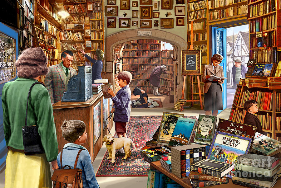 Children Digital Art - Bookshop by Steve Crisp