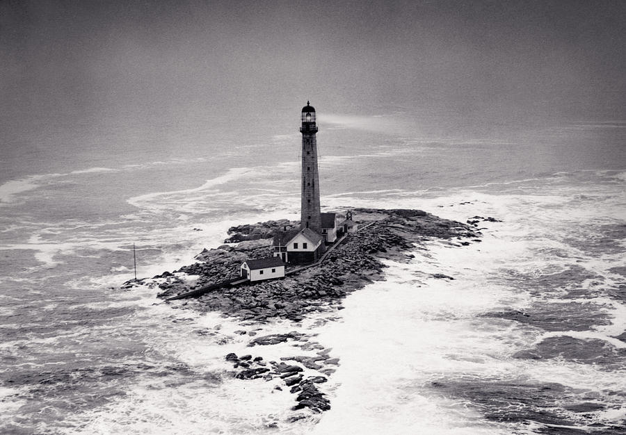 Lighthouse Photograph - Boon Island Light Tower Circa 1950 by Aged Pixel