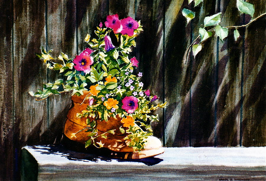 Brown Boot Painting - Boot Bouquet by Karol Wyckoff