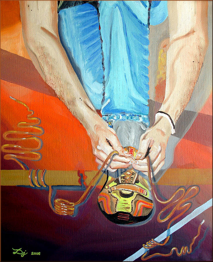 Shoelace Painting - Bootlace by Daniel Janda