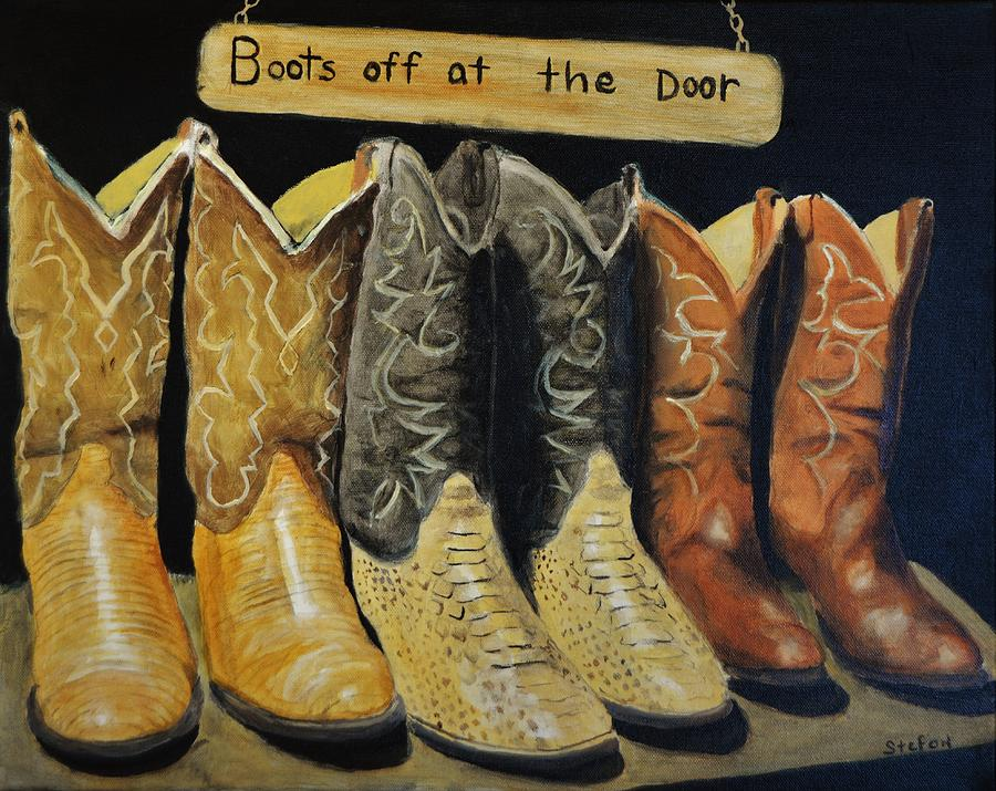Boots Painting - Boots Off At The Door by Stefon Marc Brown