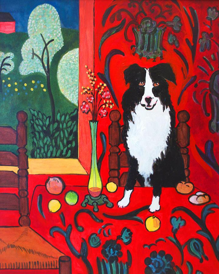 Border Collie Matisse Painting By Charles Wallis