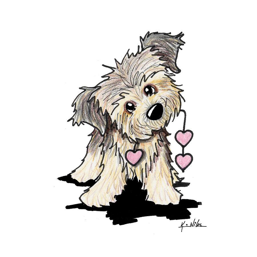 Border Terrier Drawing - Border Terrier Heart Strings by Kim Niles