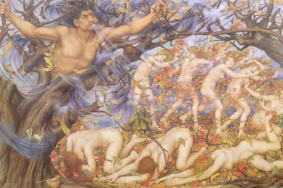 William Painting - Boreas And Fallen Leaves by Evelyn De Morgan