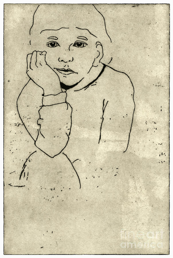 Boredom - Portrait Of A Child - Childrens World - Childhood - Childs Expression - Etching Painting