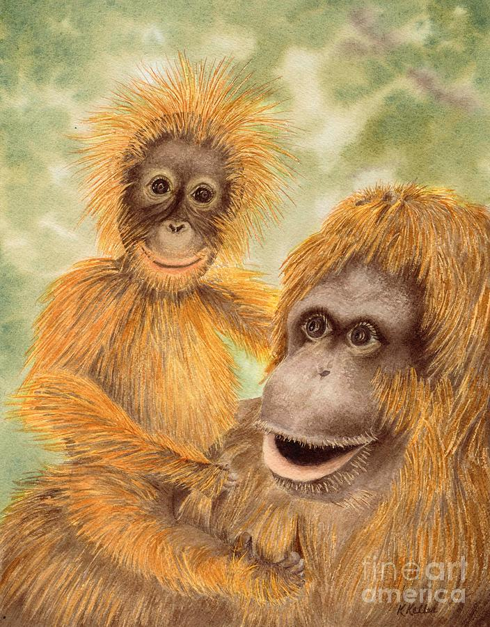 Chimpanzee Painting - Born Mischievous by Kathleen Keller