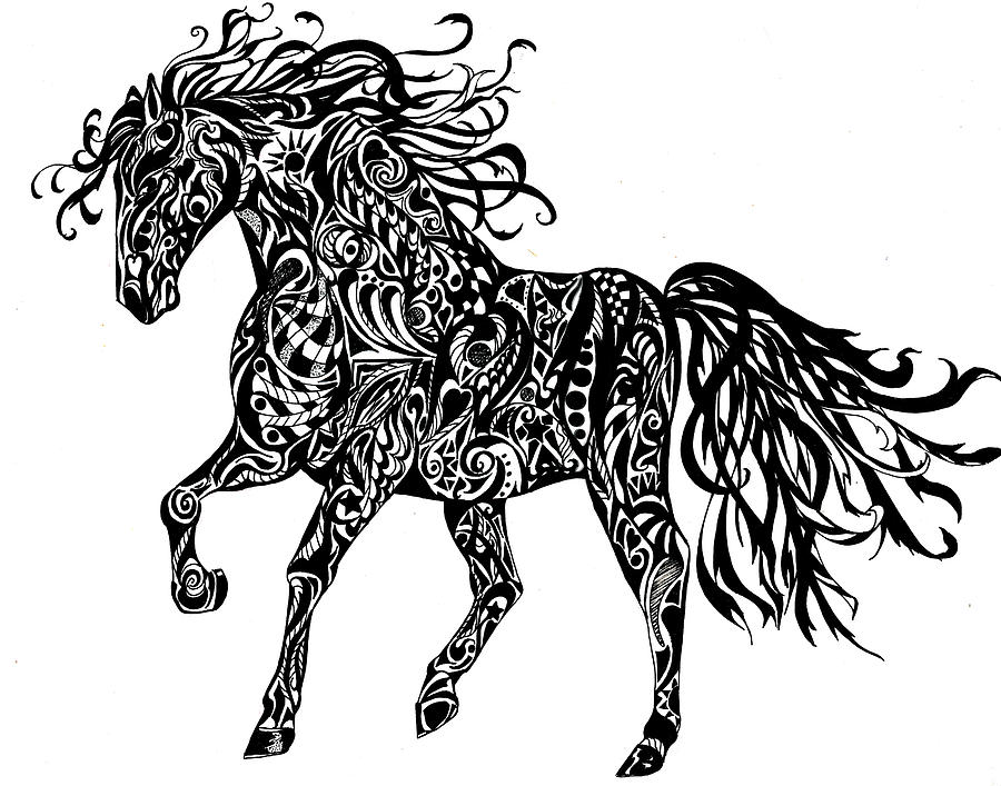 horse totem pole coloring pages | Born To Be Wild Drawing by Sherry Shipley