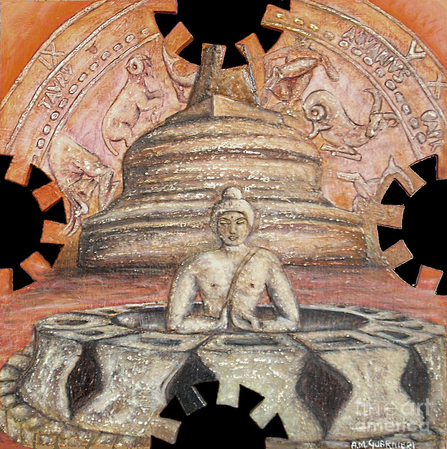 Borobudur Painting - Borobudur by Anna Maria Guarnieri