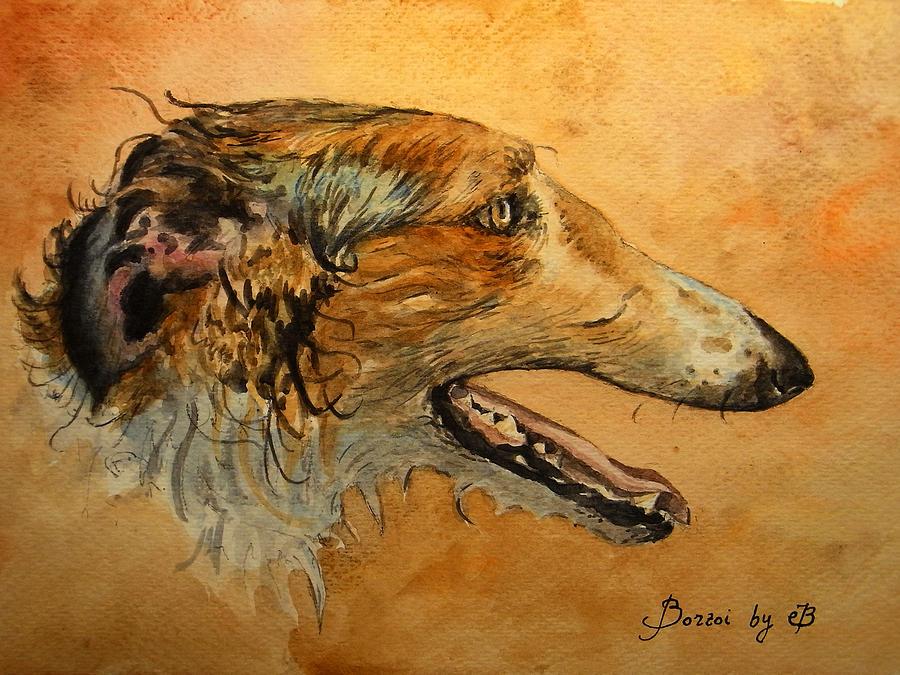 Portrait Painting - Borzoi Dog by Juan  Bosco