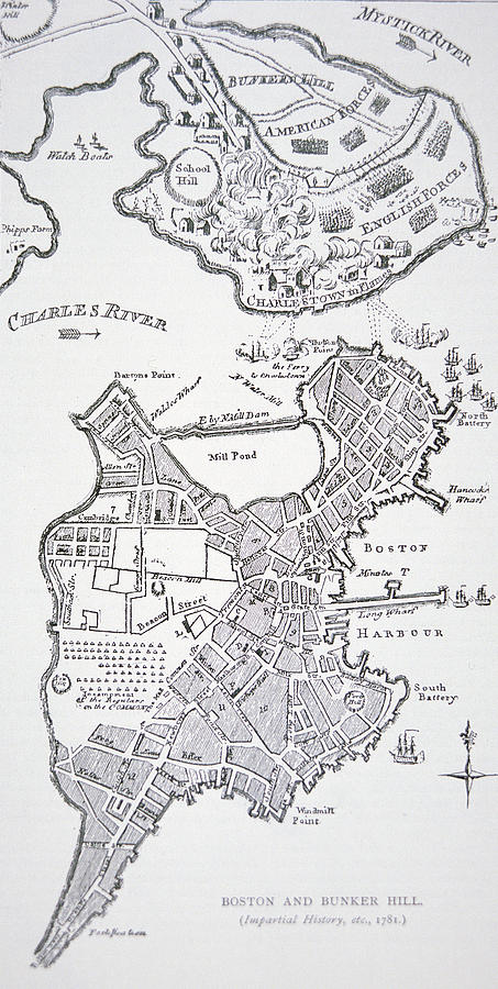 Breed's Hill Drawing - Boston And Bunker Hill 1781 by American School