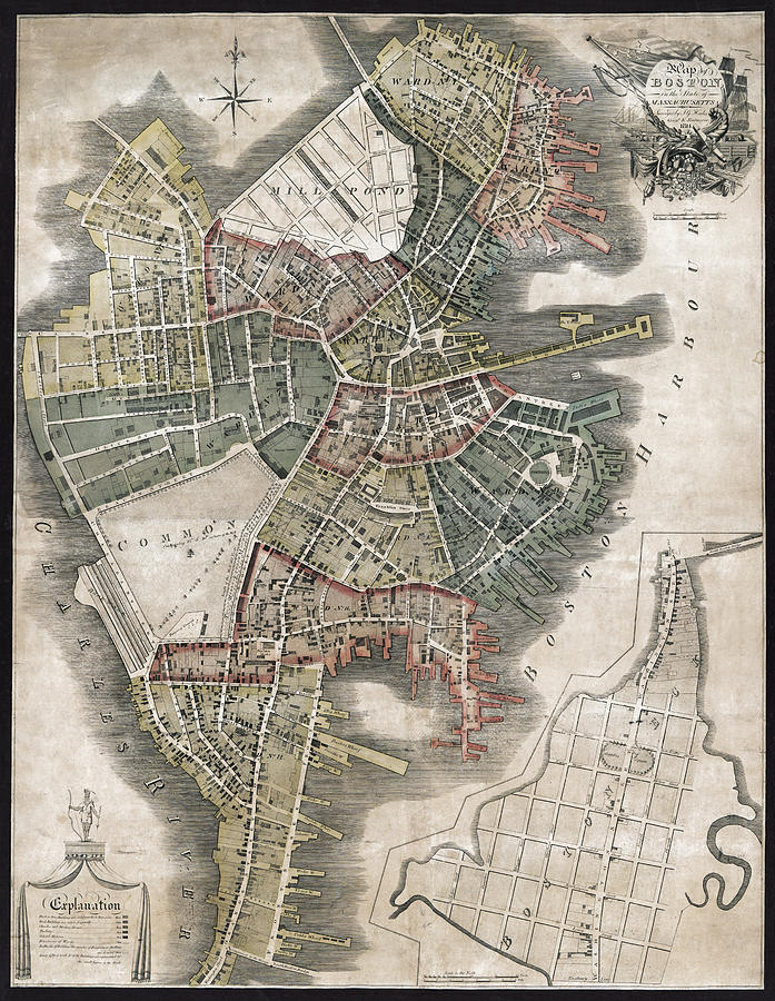 Antique Boston Map.Boston Antique Map 1814 Photograph By Compass Rose Maps