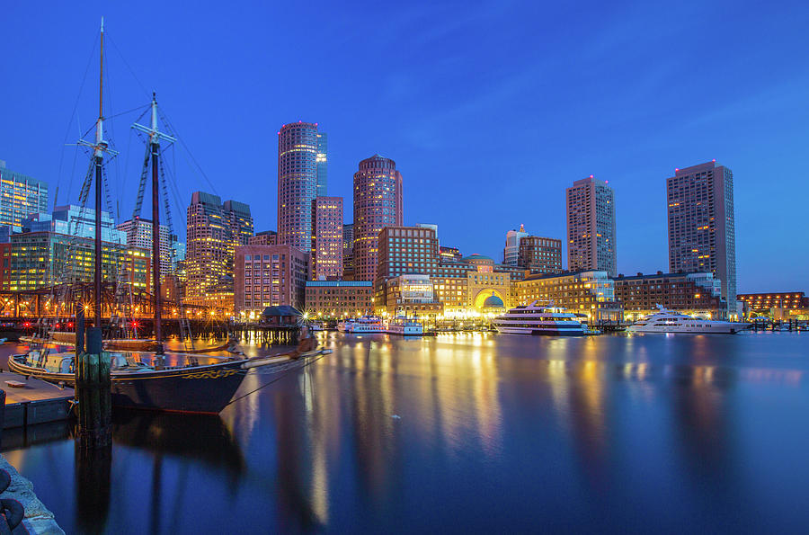 Boston At Night Photograph by Bibis Photography