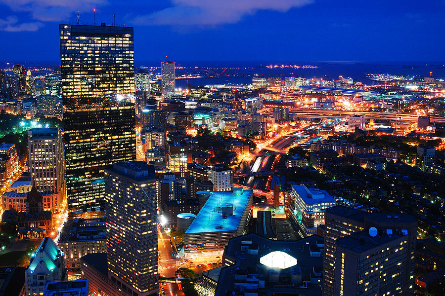 boston at night photograph by james kirkikis