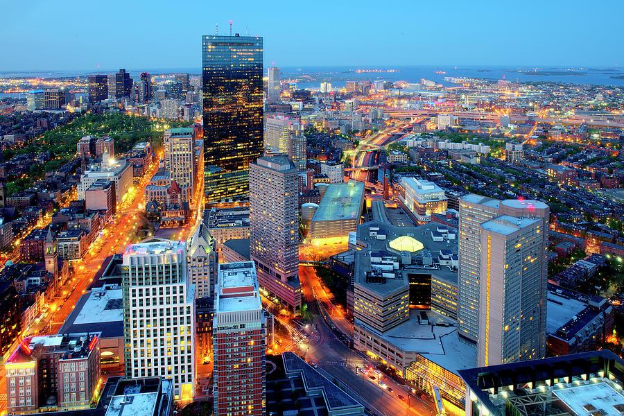 Boston At Night Photograph by Tony Shi Photography