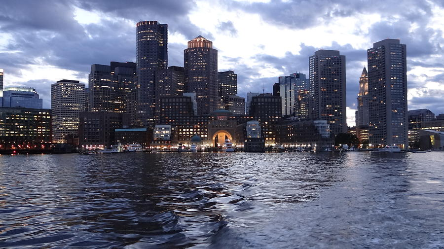 City Scape Painting - Boston At Twilight Two by Laura Lee Zanghetti