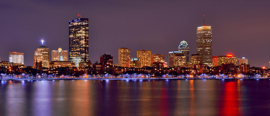 Boston Skyline At Night Photograph - Boston Back Bay Skyline at Night Color Panorama by Jon Holiday