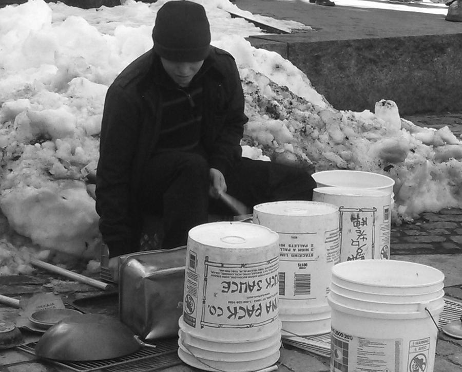 Black And White Photograph - Boston Bucket Man by Paulo Guimaraes